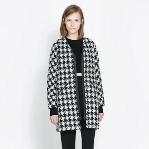 Zara Houndstooth Wool Coat